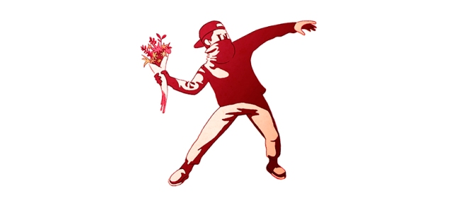 Drosia_illustration_Banksy_cartoon_flower_thrower