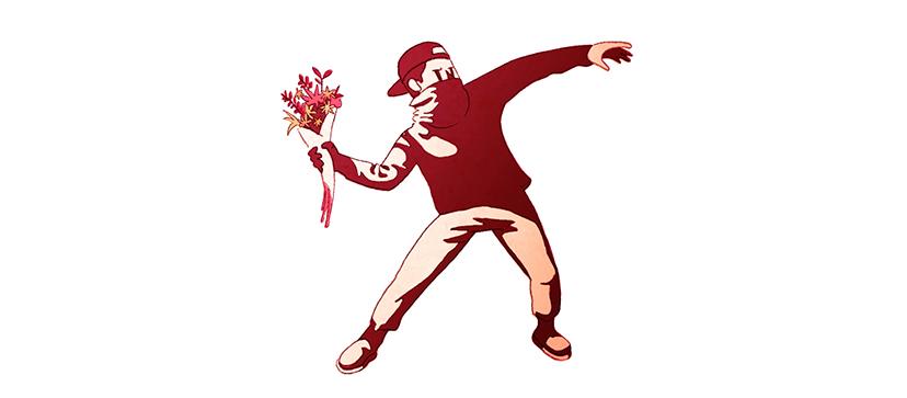 Drosia_illustration_Banksy_cartoon_flower_thrower